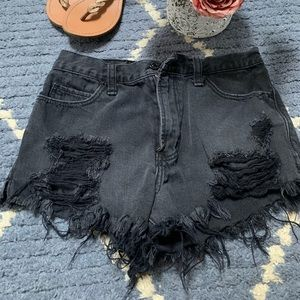 Abercrombie black Distressed high rise shorts